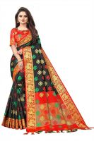 TorioxWoven, Embroidered, Checkered Kanjivaram Cotton Silk, Jacquard Saree(Black)
