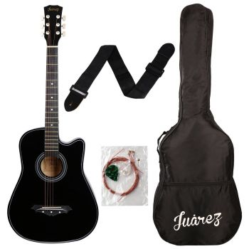 Juarez JRZ38C 6 Strings Acoustic Guitar 38 Inch Cutaway, Right Handed, Black with Bag, Strings, Picks and Strap