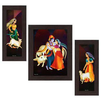 [LD] Wens 'Radhe Krishna Playful Mood' Wall Art (MDF, 29.5 cm x 24.5 cm, WSP-4314)