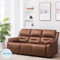 Perfect Homes by Flipkart Wayne 3 Seater Fabric Recliner(Finish Color - Brown)