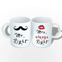 SAAVRE Mr. Right & Mrs. Always Right Coffee Mug Printed Pack of 2.