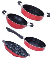 [LD] Nirlon Non-Stick Aluminium Mini Cooking Combo Item Gift Set Offer,Red/Black