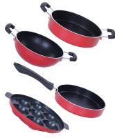 [LD] Nirlon Non-Stick Aluminium Mini Cooking Combo Item Gift Set Offer,Red/Black