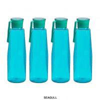 Steelo Seagul Plastic Water Bottle, 1 Litre, Set of 4, Turkish Blue