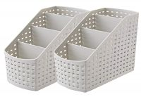 [LD] Kuber Industries 4 Sections Plastic Storage Basket Set, 2-Pieces, Multicolor