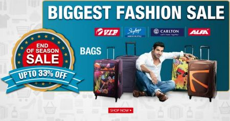 Bags (Backpacks, Duffle, Lugguage Trolley) upto 80%, Extra 25% off